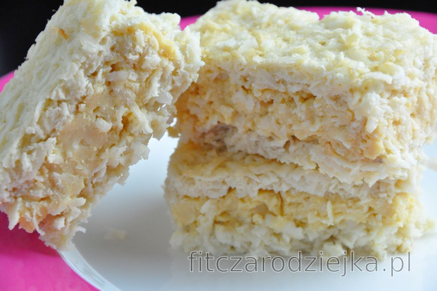 Ciasto kokosowe z budyniem z żółtek (bezglutenowe)