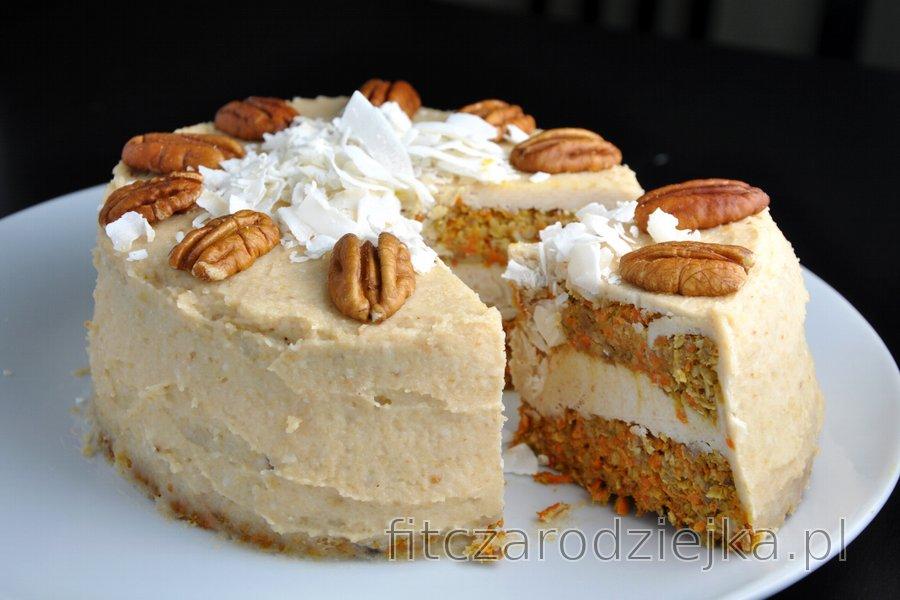Ciasto marchewkowe z kremem z kokosa i nerkowców (bezglutenowe, bezcukrowe)